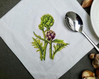 4- Artichoke Linen Embroidered Napkins, White Napkins, Cloth Napkins, Hand Embroidered Napkins, Linen Napkins With Embroidered Artichoke