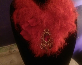 Vintage red magic yarn choker