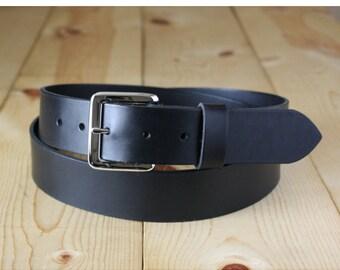 "1-1/4"" Handmade Bullhide Leather Belt _ Mens Belt _ Dress Casual Belt_ Made in Indianapolis, USA"