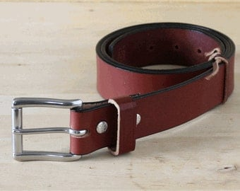 "1-1/2"" Heavy-Duty Bridle Leather Belt _ Men's Belt / Stainless Steel Roller Buckle _ Made in Indianapolis, USA"