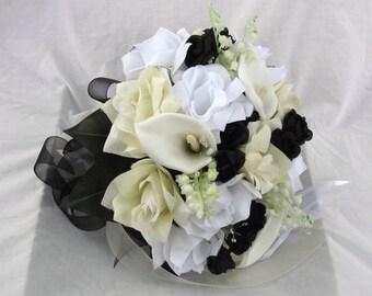 Silk Bride wedding bouquet black ,Ivory,White Nosegay round style 2 pc