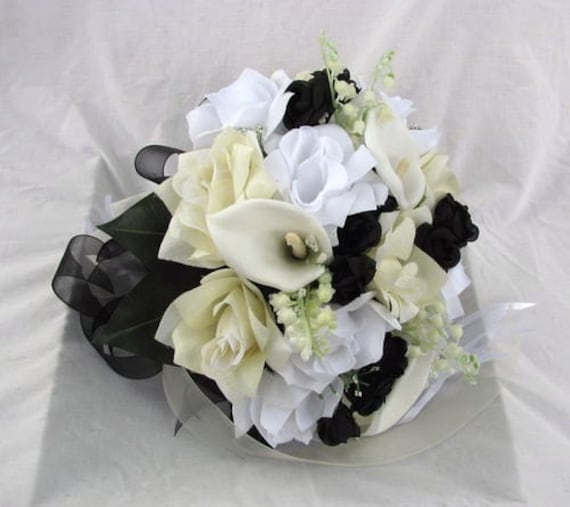 Silk Bride wedding bouquet black ,Ivory,White Nosegay round style 2 pc
