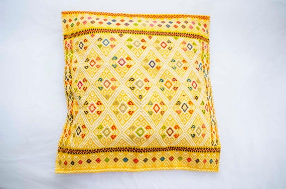Colorful hand embroidered mexican textile pillow case Mexican embroidered bedding