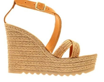 Wedge handmade sandals Womens high Greek leather shoes! Natural colour!summer!handmade