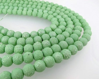 Spring Green round beads 10mm, Apple Green acrylic beads ,Textured Beads