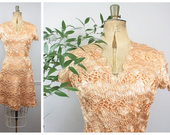 Vintage 1950's Apricot & Peach Rafia Crochet Dress