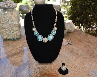 Light Blue and Antique Silver Rhinestone Charm Necklace and Ring Set