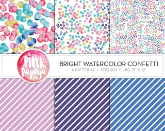 Digital Paper Patterns | Bright Watercolor Confetti | 12 x 12 inches