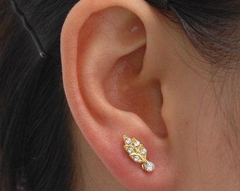 Gold stud earrings, Earrings, Crystal earrings, Gold earrings, Small earrings, Metal studs, Ear cuff