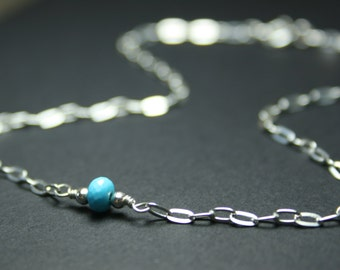 Sterling silver anklet, turquoise bead ankle bracelet, dainty silver anklet