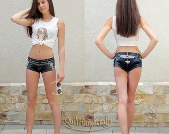 Stretch denim shorts Low Waist Shorts Denim short girl Summer