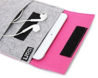 iPad Sleeve, iPad Mini /Air / iPad Air2 Case, iPad Cover, Tablet Case, Felt Sleeve, iPad Felt Case, Pink Gray, Gray iPad Case, iPad Bag
