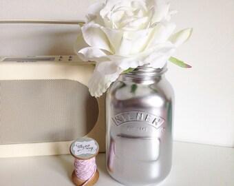 Metallic chrome large Kilner jar