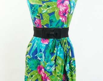 Authentic Vintage XS S Dress SASH Tropical Floral Wiggle Above Knee Pencil Summer Beach Sleeveless 90s does 50s