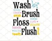 SVG Wash Brush Floss Flush  / digital design PNG EPS