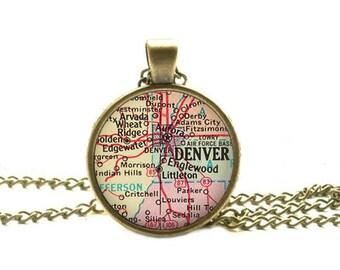 Denver map necklace, Denver map pendant Denver necklace Denver pendant map jewelry