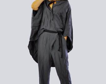 Loose Linen Gray Pants/Wide Leg Pants spring Summer casual Extravagant pants/Handmade pants/Dark gray pants/Gray asymmetrical pants/P1227