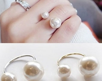 Trendy Double Pearl Ring (Adjustable)