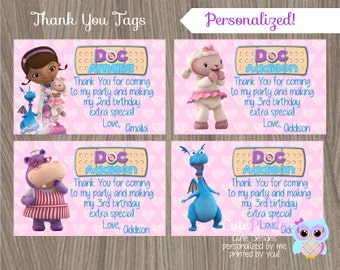Doc McStuffins Thak You Tags, Doc McStuffins Tags, Doc Mcstuffins Thank You, Doc McStuffins Party, Thank You Tag