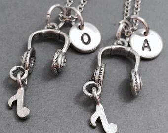 Best friend necklace, headphone necklace, friendship necklace, music necklace, bff necklace, friend necklace, headphone charm