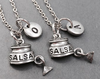 Best friend necklace, salsa necklace, chips and salsa necklace, friendship necklace, bff necklace, personalized necklace, food necklace