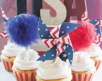 Fourth of July, 4th of july, red white and blue, Independence Day, american flag, red white blue, patriotic, july 4th, usa, cupcake toppers