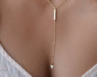 Triangle Tassel Charm Pendant Necklace