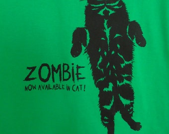 Screen Printed Zombie Cat Men's & Ladie's T-Shirts
