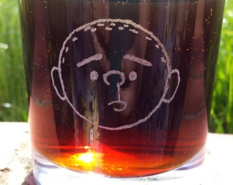 Hand etched mixer glass inspired by the genius, Karl Pilkington