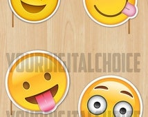"""20 Digital Photo booth """"Emoji's"""" Partys and Birthday Party Printable Photo"""