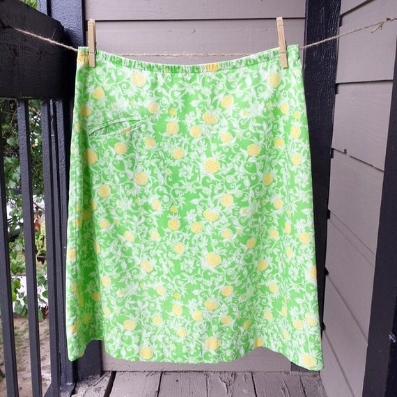 free shipping vintage lilly pulitzer pineapple print skirt. Black Bedroom Furniture Sets. Home Design Ideas