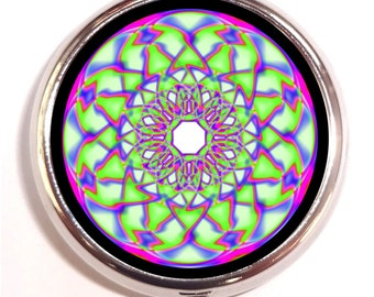 Lime Green Kaleidoscope Pill box Pillbox Case Holder - Psychedelic Visionary Music Festival Art - Rave EDM - Pop Art - Trippy - Guitar Pics