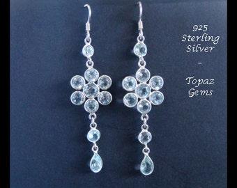 Silver Earrings 012: Sterling Silver Earrings with Topaz Gemstones, Long Drop Earrings | Gemstone Earrings, Silver Earrings, Drop Earrings