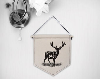 Hanging canvas wall banner- Let's get Lost