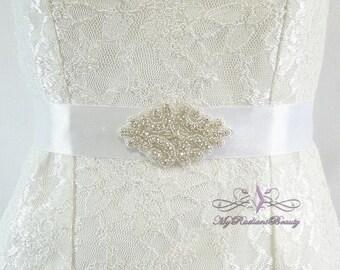 Wedding Sash, Bridal Sash Belt, Bridal Sash, Bridesmaid Sash belt, Ribbon Sash, Luxurious Sash, Rhinestone Sash, Belt, Prom Sash SB0021