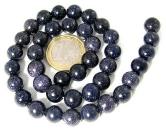 64 beads wire round 6mm 6 mm stone Blue Sun glitter