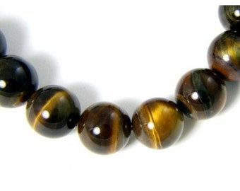 64 beads wire round 6mm 6 mm Brown Tiger eye