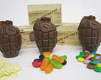 Chocolate hand grenades, milk chocolate with various fillings