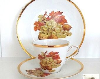 Vintage China Cup Saucer Plate, Fall Harvest Still Life, Rustic Autumn Leaves, Jahre Bareuther Waldsassen Bavaria Vintage Teacup Tea Set