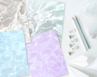 Vaporwave Water Digital Paper / Journal / Book of Shadows Pages, Set of 4, 8.5 x 11 inches. Vaporwave, Seapunk, Aesthetic