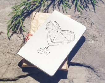 Custom Moleskine Sketchbook Design White Pocket Size Small Plain Page Notebook, Journal, Geometric Heart Artwork