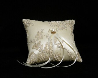 Ring Pillow Cushion Bearer Creme-Gold Embroidered Lace