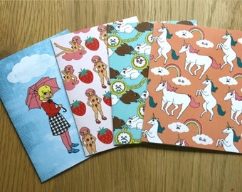 4x pack of cards, cute patterns