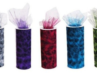 """6"""" Cheetah Design Tulle Roll (10 Yards) - Free Shipping!"""
