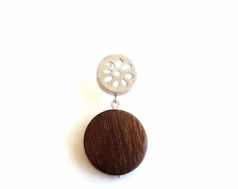 EAD2015 89 of 365 Sterling Silver Rosette & Wood Single Earring