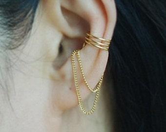 Ear cuff,16K gold dipped ear cuff with Chain, Ear Jacket, Ear Wrap,cartilage earring