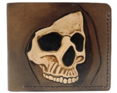 Tooled leather wallet - hooded skull