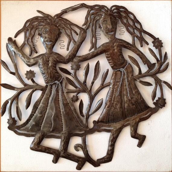 Haitian oil-drum sculpture Twins