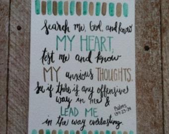 Scripture Art - psalm 139: 23-24 - christian art - home decor - watercolor quote art