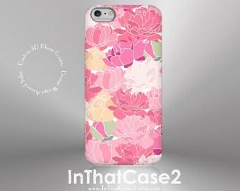 1136 // iPhone 6, 6 Plus, 5, 5S Case Samsung Galaxy S5, S6 Custom Phone Case Pink Peonies Flower